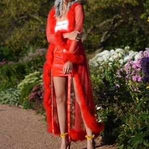 Sheer Red Robe With Feathered Boa